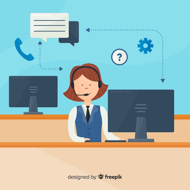 Vrouwelijke call center agent concept Gratis Vector