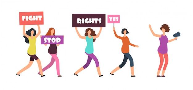 Vrouwelijke demonstranten lopen op manifestatie. feminisme, vrouwenrechten en protest vectorconcept Premium Vector