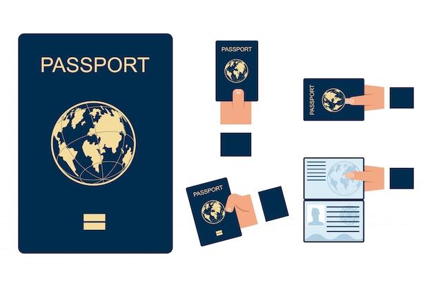 Vrouwelijke en mannelijke handen houden open en gesloten paspoorten vector set geïsoleerd op een witte achtergrond. Premium Vector