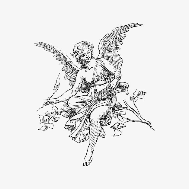 Vrouwelijke engel vintage tekening Gratis Vector