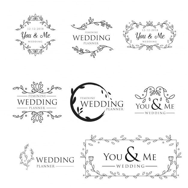 Vrouwelijke floral bruiloft logo-collectie Premium Vector