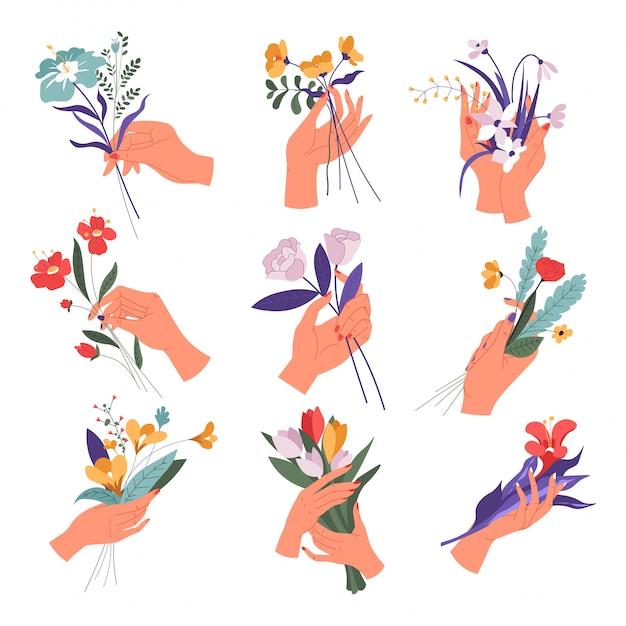 Vrouwelijke hand met bloemboeket in bloei set Premium Vector