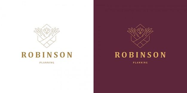 Vrouwelijke handen gebaar lijn en roze bloem vector logo embleem ontwerp sjabloon illustratie eenvoudige minimale lineaire stijl Premium Vector