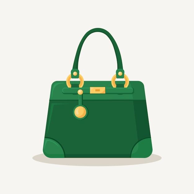 Vrouwelijke handtas voor winkelen, reizen, vakantie. leerzak met handvat op witte achtergrond. mooie casual collectie zomervrouwaccessoires. Premium Vector