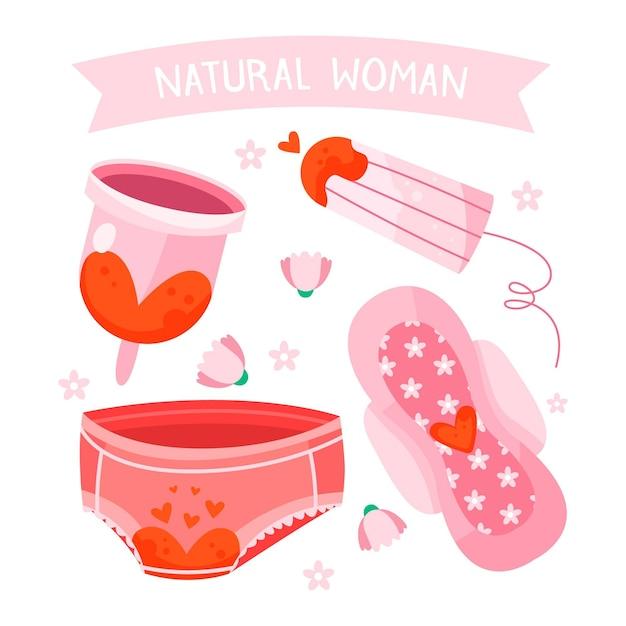 Vrouwelijke hygiëneproducten concept Gratis Vector