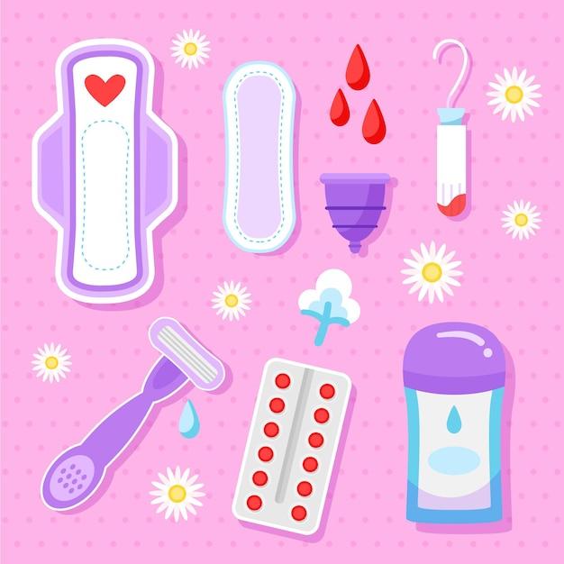 Vrouwelijke hygiëneproducten ingesteld Gratis Vector