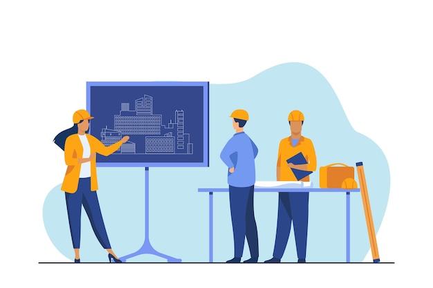 Vrouwelijke ingenieur permanent in de buurt van schoolbord project uit te leggen. ontwerp, gebouw, werknemer platte vectorillustratie. bouw en architectuur Gratis Vector