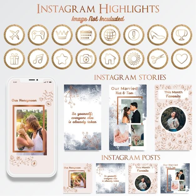 Vrouwelijke instagram social media post met logo-ontwerp Premium Vector