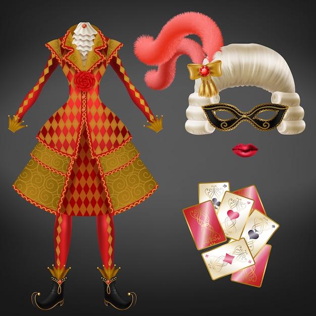 Vrouwelijke joker, harlekijn pak, nar kostuum voor carnaval, gekostumeerd feest realistisch Gratis Vector
