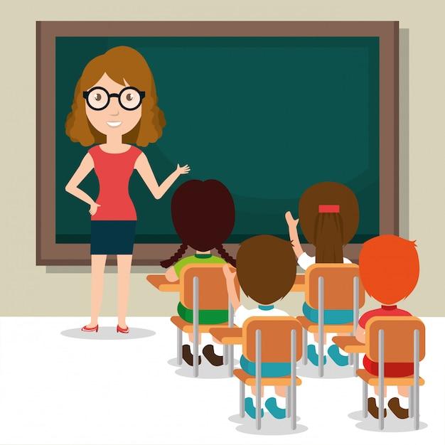 Vrouwelijke leraar met studenten in de klas Gratis Vector