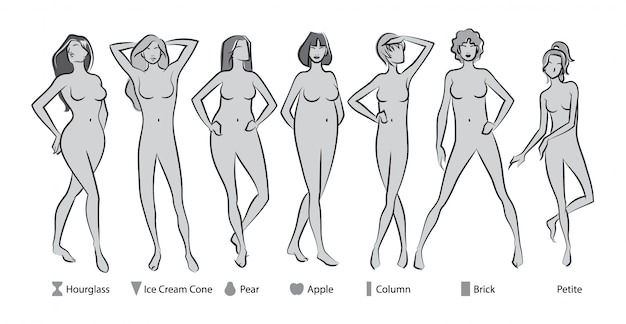 Vrouwelijke lichaamsvormen Premium Vector