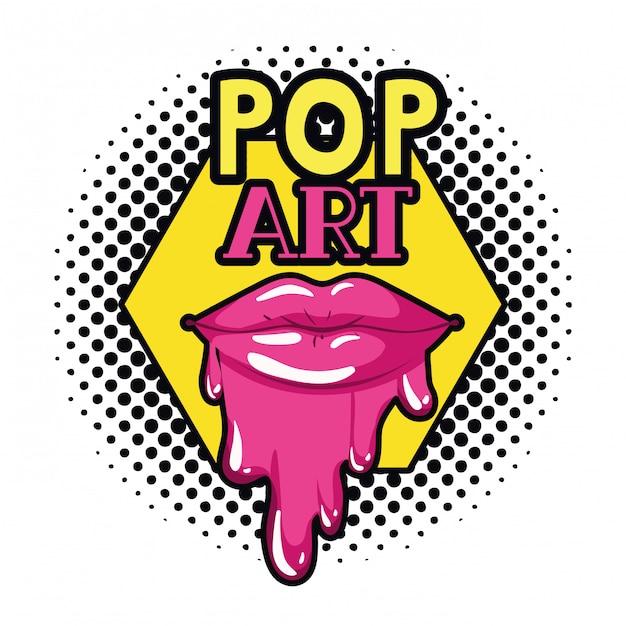 Vrouwelijke lippen die geïsoleerd pictogram druipen Premium Vector