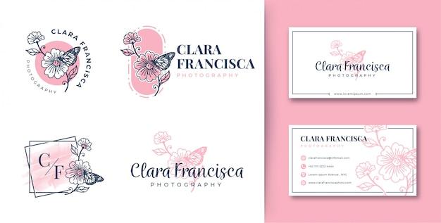 Vrouwelijke logo bloem- en vlindercollecties met visitekaartje Premium Vector
