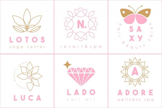 Vrouwelijke logo-collectie Premium Vector