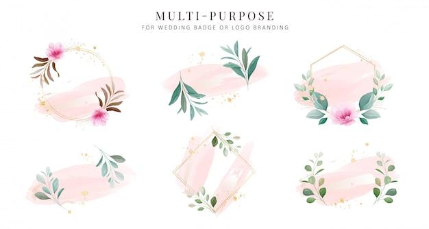 Vrouwelijke logo-collecties. hand getrokken moderne bloemen en aquarel badge sjablonen Premium Vector