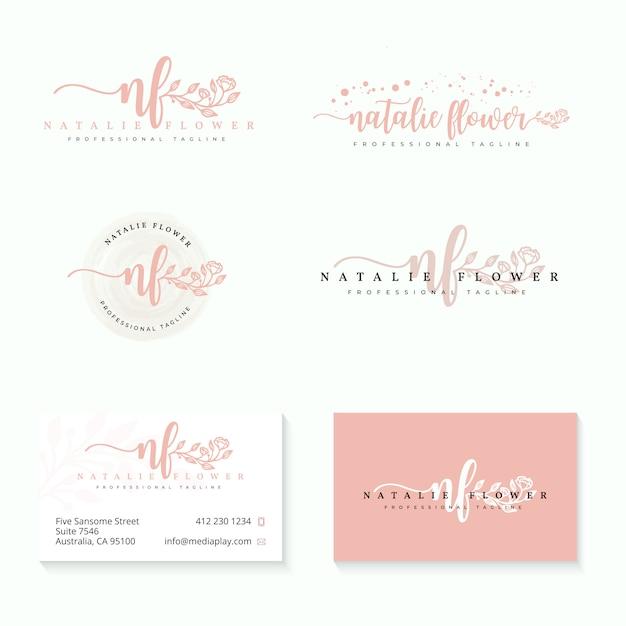 Vrouwelijke logo collecties sjabloon Premium Vector