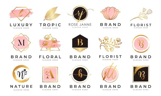 Vrouwelijke logo-collecties Premium Vector