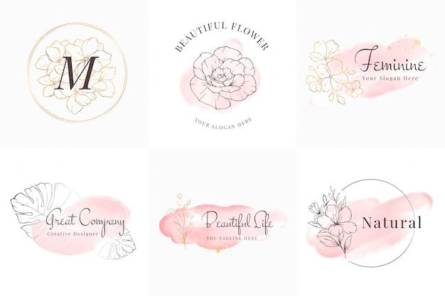 Vrouwelijke logo's collectie, handgetekende moderne minimalistische en bloemen- en aquarelbadgesjablonen voor branding, identiteit, boetiek, salon Premium Vector