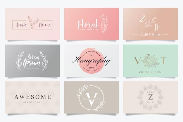 Vrouwelijke logo's en visitekaartjes Premium Vector