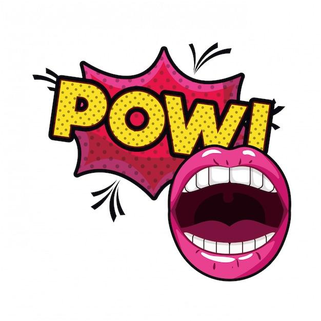 Vrouwelijke mond met tekstballon geïsoleerd pictogram Premium Vector