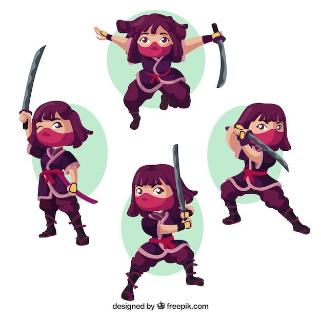 Vrouwelijke ninja krijger collectie met platte ontwerp Premium Vector