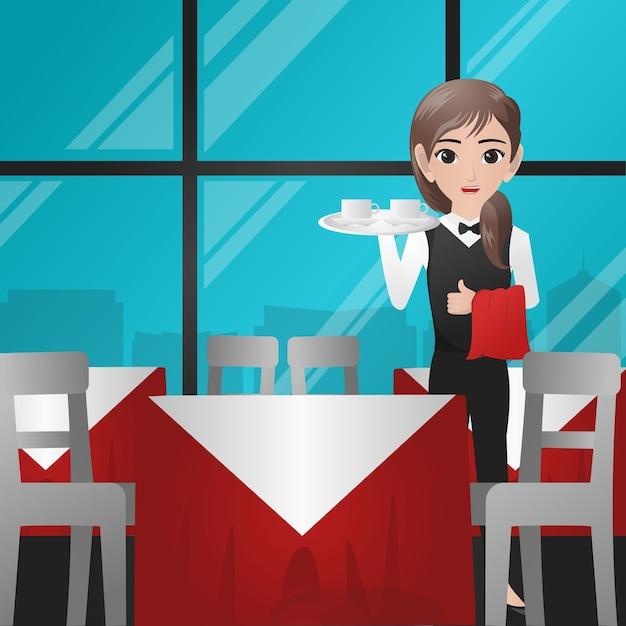 Vrouwelijke ober portie kopje koffie Premium Vector