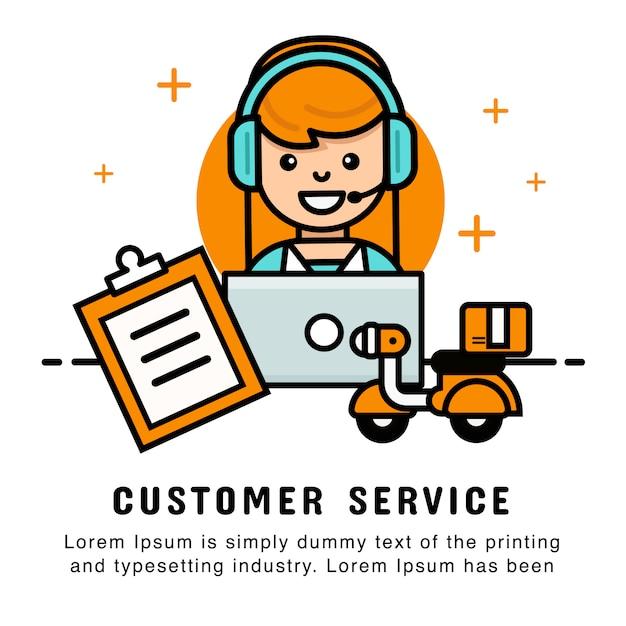 Vrouwelijke operator online winkelen met bestellings- en bezorgservice. Premium Vector