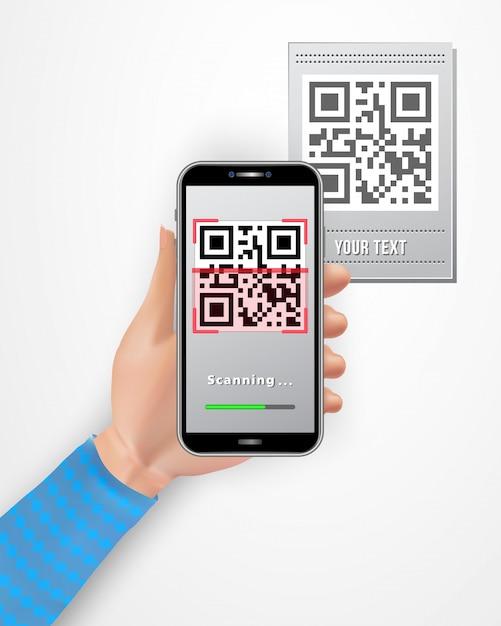 Vrouwelijke smartphone van de handholding met qr-codescanner mobiele app die op witte achtergrond wordt geïsoleerd. Premium Vector