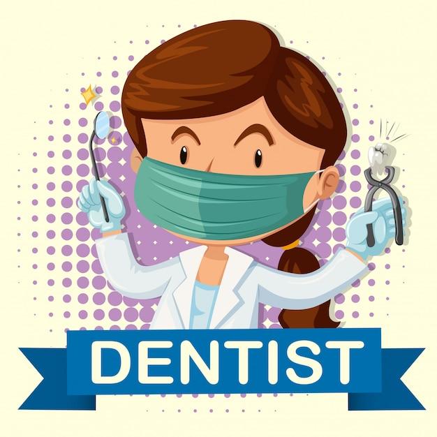 Vrouwelijke tandarts met tand en hulpmiddelen Premium Vector