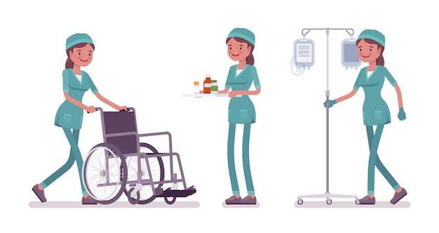 Vrouwelijke verpleegster die medische procedurebanner doet Premium Vector