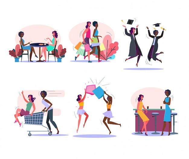 Vrouwelijke vrienden activiteiten set Gratis Vector