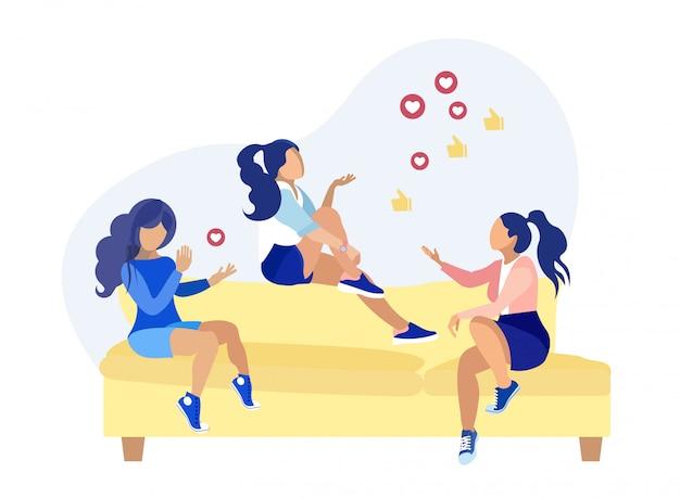 Vrouwelijke vrienden bespreken sociaal netwerkbeeldverhaal Premium Vector