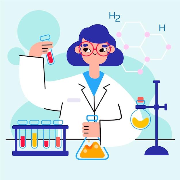 Vrouwelijke wetenschapper Gratis Vector