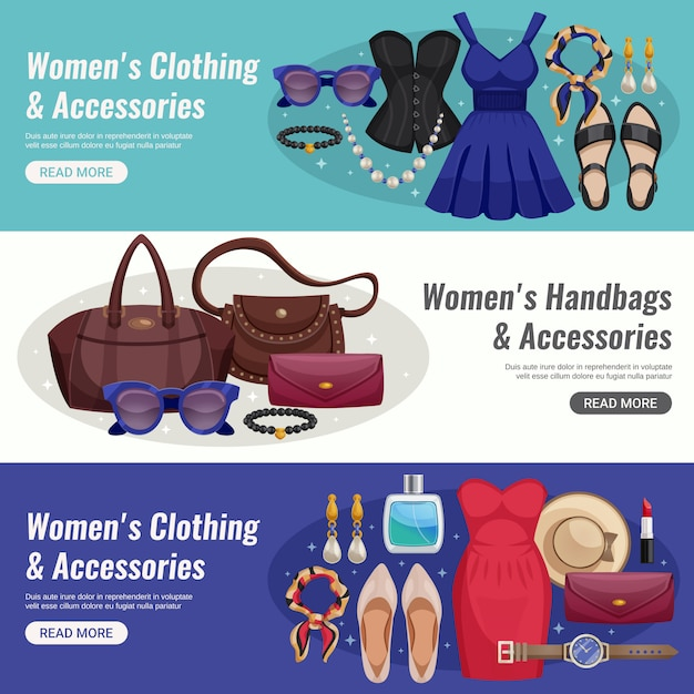 Vrouwen accessoires horizontale banner set Gratis Vector