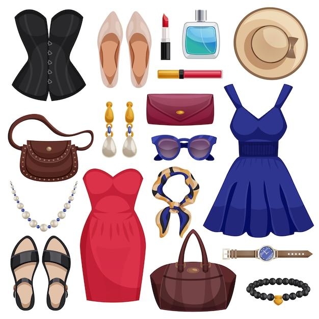 Vrouwen accessoires icon set Gratis Vector