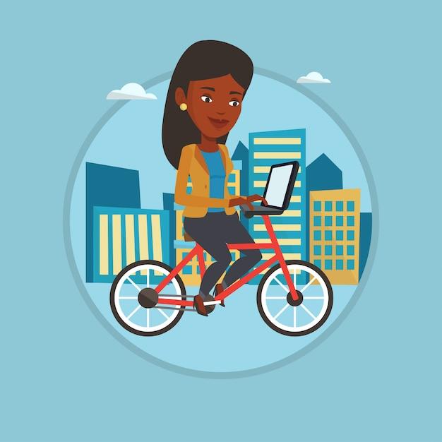 Vrouwen berijdende fiets in de stad. Premium Vector