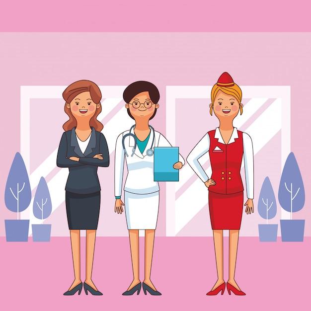 Vrouwen beroep en beroep avatars Premium Vector