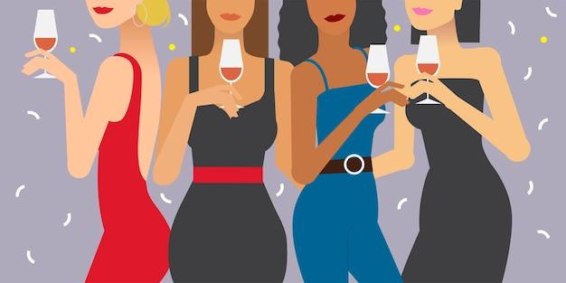 Vrouwen bij een partijillustratie Gratis Vector