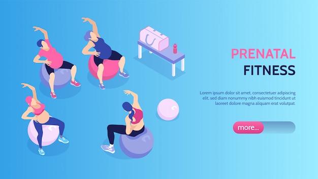 Vrouwen bij prenatale geschiktheidsklassen in 3d vectorillustratie van de gymnastiek de horizontale isometrische banner Gratis Vector