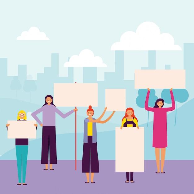 Vrouwen die banners houden Gratis Vector