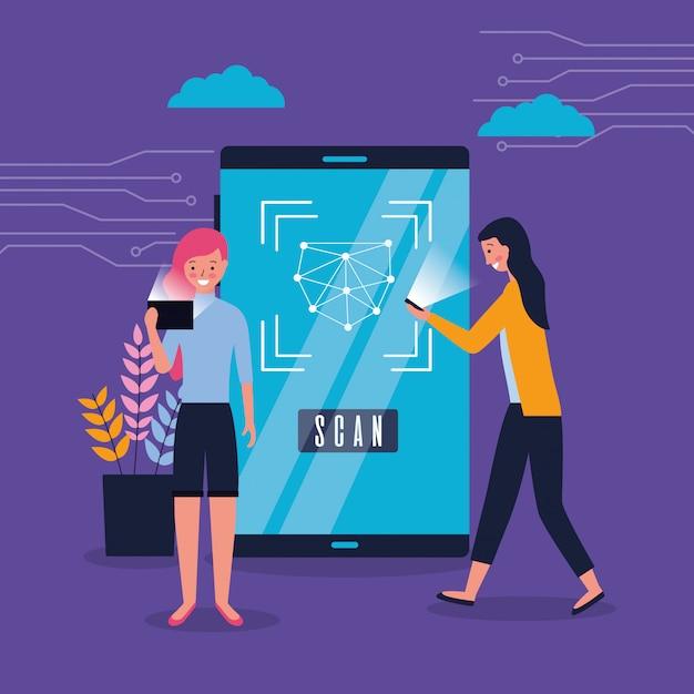 Vrouwen die biometrische gezichtsscan met smartphone gebruiken Gratis Vector