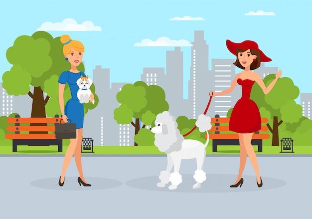 Vrouwen die honden in park vectorillustratie lopen Premium Vector
