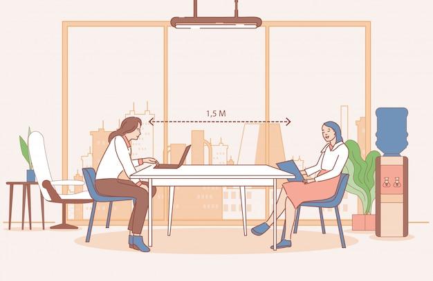 Vrouwen die op kantoor werken en veilige sociale afstand houden, vectorillustratie cartoon overzicht. Premium Vector