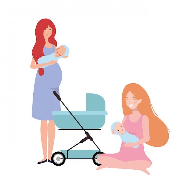 Vrouwen die zich met een pasgeboren baby in kinderwagen bevinden Premium Vector