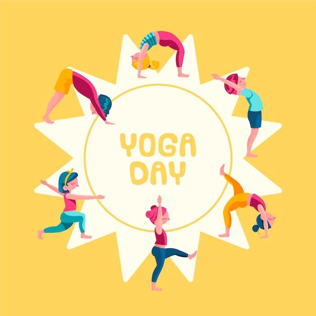 Vrouwen doen yoga hand getrokken ontwerp Gratis Vector