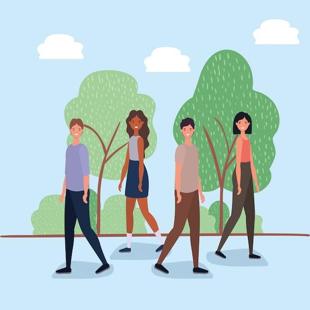 Vrouwen en mannenbeeldverhalen die bij park lopen Premium Vector