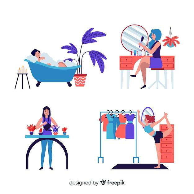 Vrouwen genieten van hun vrije tijd Gratis Vector