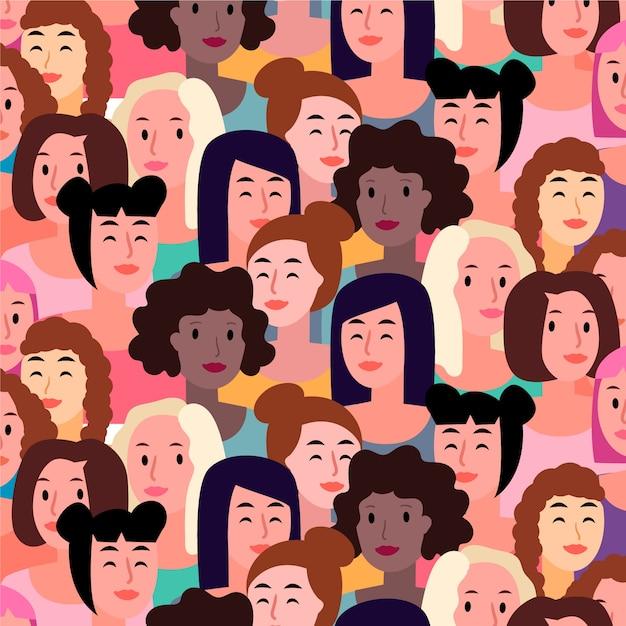 Vrouwen gezichten patroon voor de dag van de vrouw Gratis Vector