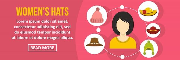 Vrouwen hoeden banner sjabloon horizontale concept Premium Vector
