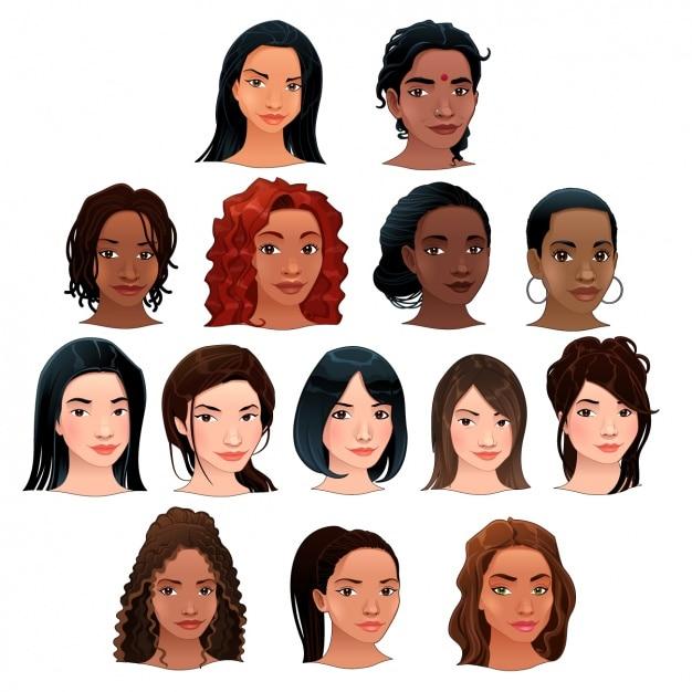 Vrouwen hoofd collectie Gratis Vector